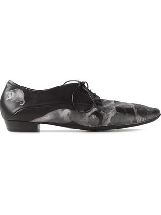 women shoes lace-up shoes lace leather print black