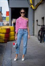 jeans,top,stripes,shoes,sunglasses