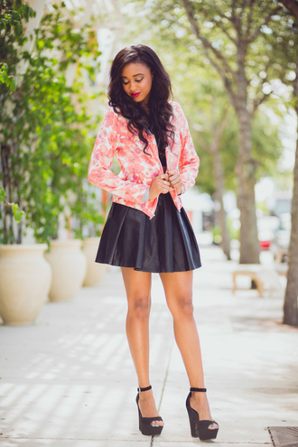 jacket floral blazer floral skater skirt leather skater skirt cute
