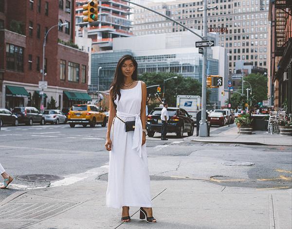 honey and silk blogger belt bag jewels sunglasses jacket jeans white white dress