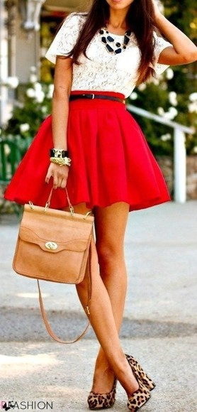 red skirt skirt shoes tank top