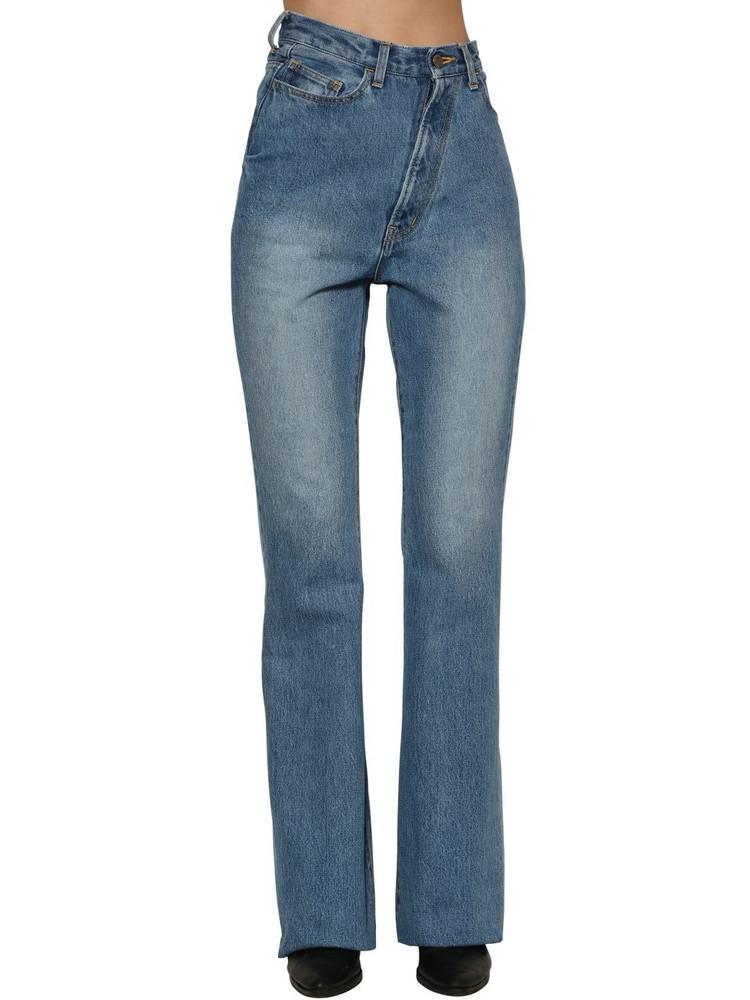 FACETASM Twisted High Rise Flared Denim Jeans in blue