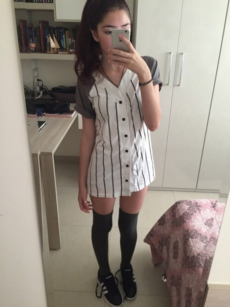 Dress t shirt dress baseball jersey dress wheretoget for Baseball jersey shirt dress