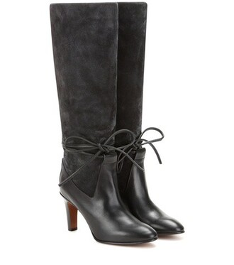 boots leather suede grey shoes