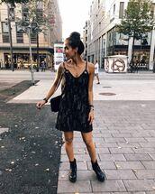 shoes,boots,black boots,flat boots,mini dress,sleeveless,shoulder bag