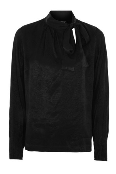 Topshop blouse jacquard animal black top