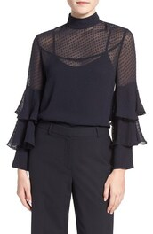 top,silk,olivia palermo,black blouse