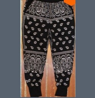 pants black bandana pants black joggers bandana print sweatpants black pants