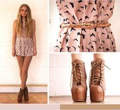 dress,belt,shoes,swallow,pink,birds,campbell,blonde hair,nice,cute,pink dress,classy dress,top,gold belt,borwn shoes,cute dress,ankle boot heels,jeffrey campbell lita,brown,black,lace,high heels,peach,boots with laces,peach dress