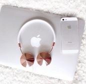 headphones,apple app,earphones,rose gold,rose,apple,beautifu,gold,white and or