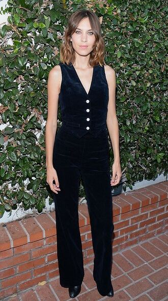 pants vest top alexa chung all black everything