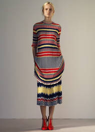 Dress in jacquard striped knit