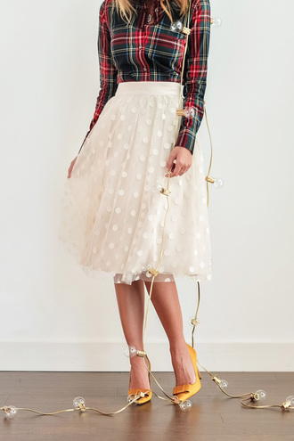 lace and locks blogger tulle skirt tartan polka dots