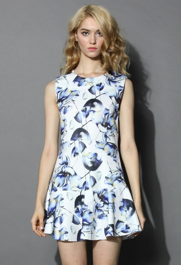 chicwish blue watercolor lotus print flare