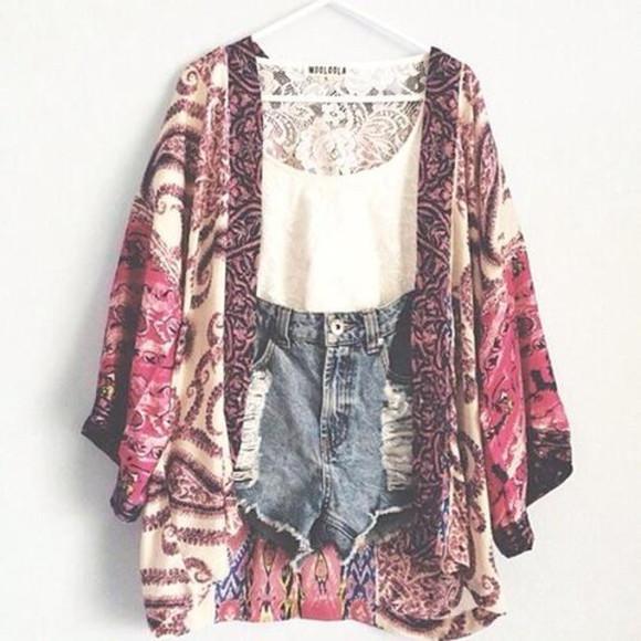 print jacket kimono kimono, cardigan, black and white, boho