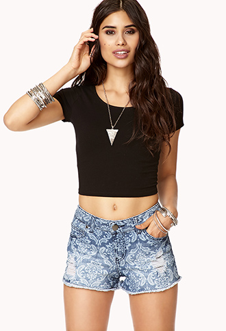 Distressed Paisley Denim Cut Offs | FOREVER21 - 2072657411