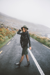 styled avenue,blogger,dress,shoes,jacket,scarf,ankle boots,felt hat,midi knit dress,hat,black leather jacket,leather jacket,black jacket,boots