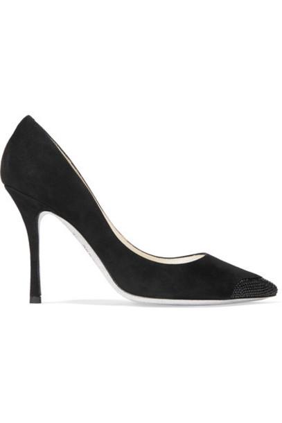 René Caovilla suede pumps embellished pumps suede black shoes