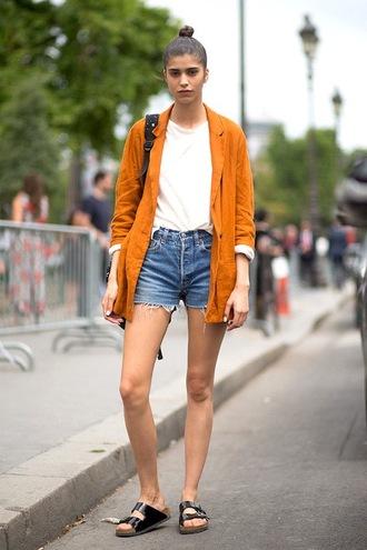 lefashion blogger jacket t-shirt shorts shoes top cardigan