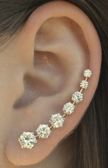 jewels earrings white diamond ear cuff stud earrings peircing earings popular cute