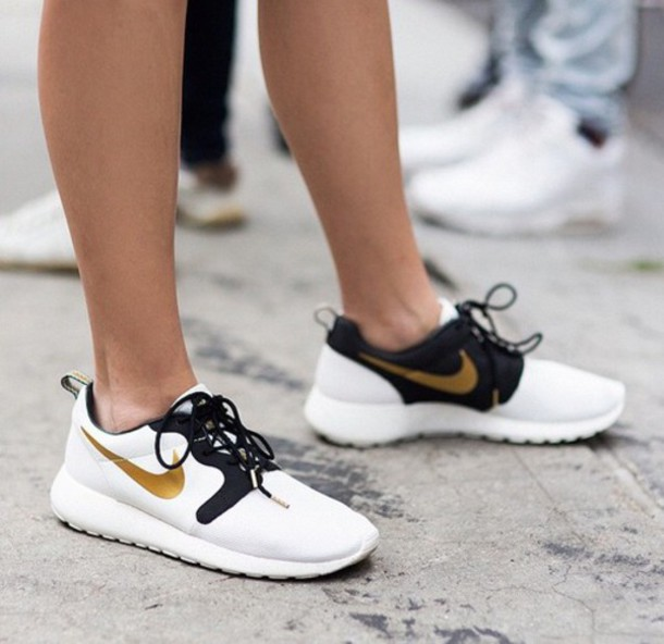 on sale 30c2d 51642 shoes black shoes gold shoes nikes running shoes black white gold nike nike  shoes womens roshe