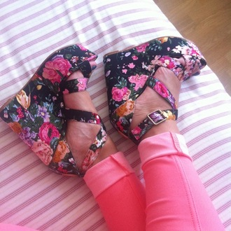 shoes wedges platform sandals dress pants flowers high heels colorful floral pink roses sandals