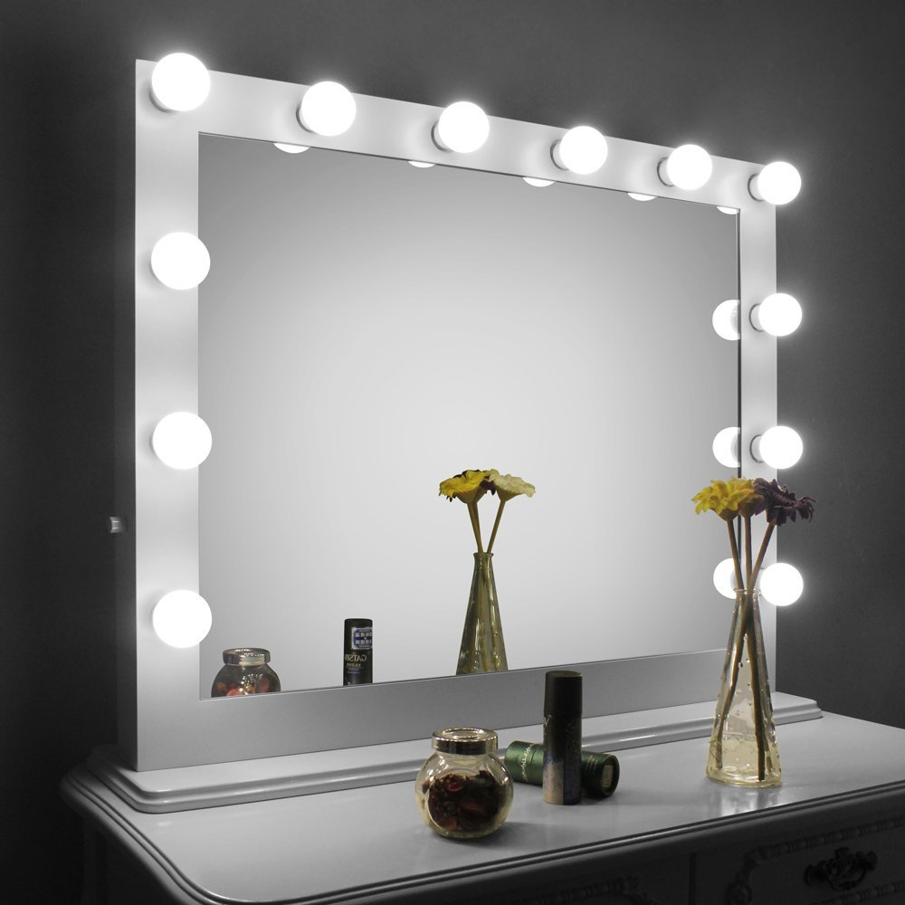 Mirrored Vanity Dressing Table Lights Led ~ Hollywood makeup vanity