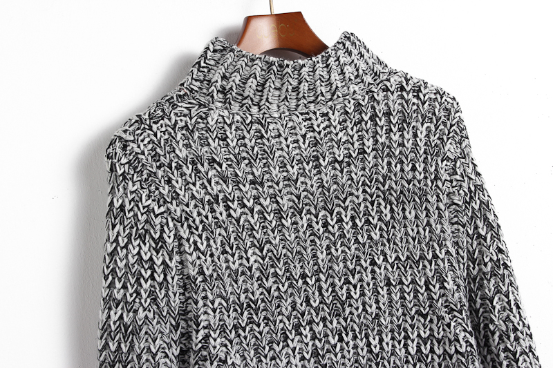 Grey High Neck Long Sleeve Knit Sweater - Sheinside.com