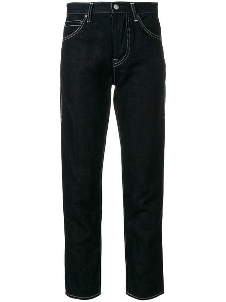 Minä Perhonen jeans cropped jeans cropped women fit leather cotton blue