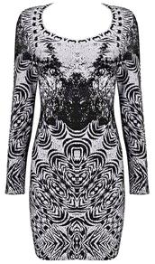 dress,dream it wear it,clothes,pattern,print,printed dress,long sleeves,long sleeve dress,grey,grey dress,black,black dress,scoop,scoop dress,scoop neck,party,party dress,sexy party dresses,sexy,sexy dress,party outfits,fall outfits,fall dress,winter outfits,winter dress,classy,classy dress,elegant,elegant dress,cocktail,cocktail dress,mini,mini dress,bodycon,bodycon dress,herve leger,bandage,bandage dress,date outfit,girly,birthday dress,holiday dress