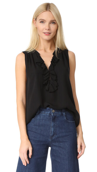 blouse sleeveless ruffle black top