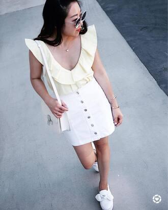 skirt white skirt top tumblr mini skirt button up skirt button up ruffle yellow top yellow sneakers bow shoes shoes