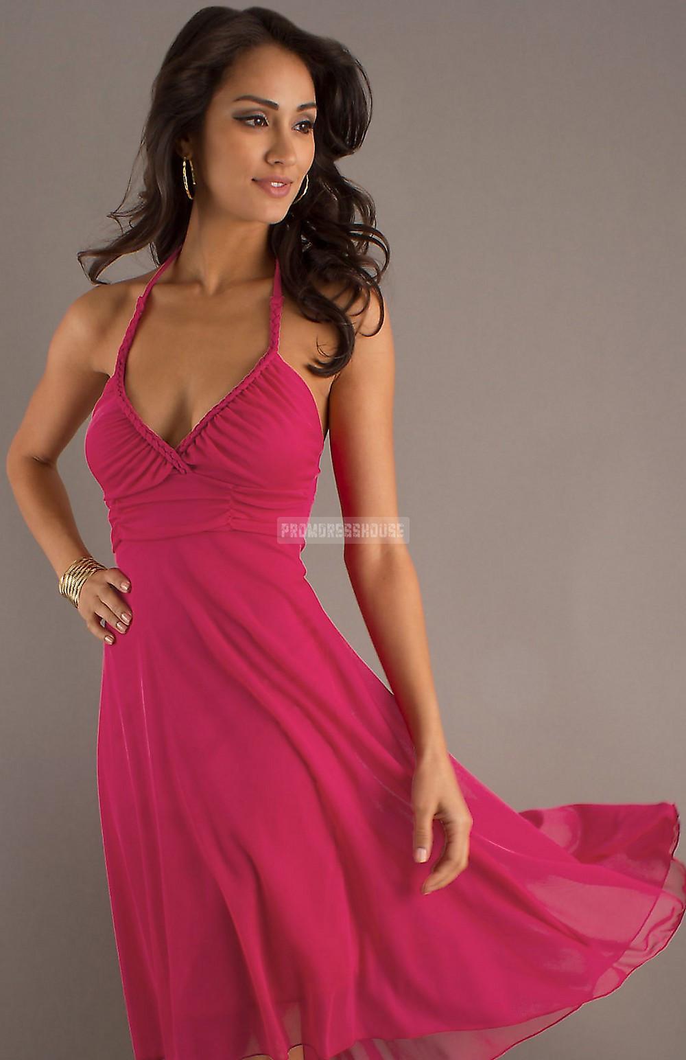 Chiffon Fuchsia Knee Length Backless Halter A-line Prom Dress - Promdresshouse.com