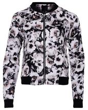 jacket,floral,flowers,floral print top,black,white,bomber jacket