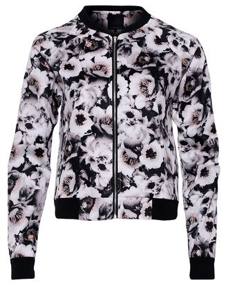 jacket floral flowers floral print top black white bomber jacket