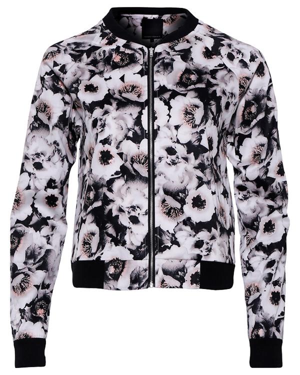 jacket floral flowers floral print top black white bomber jacket bomber jacket bomber jacket