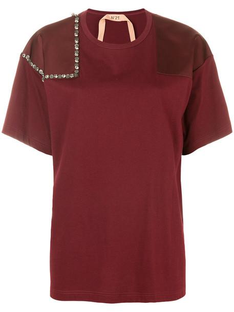 No21 t-shirt shirt t-shirt women pearl embellished cotton red top
