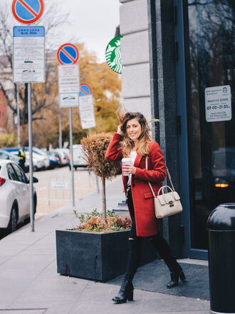 deninamartin blogger coat jeans blouse scarf shoes bag fall outfits red coat black jeans ankle boots