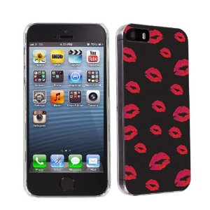 Iphone 5s / 5 black kisses ultra slim fit design phone cover case: cell phones & accessories