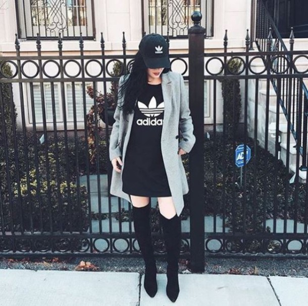 dress adidas adidas dress thigh high boots boots baseball cap dad cap  jacket fashion black grey ea0075a3b70