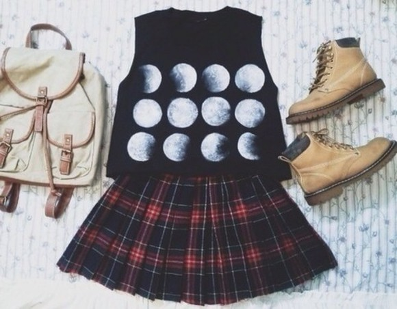 tank top tank moon moons phases black tartan skirt leather bag summer