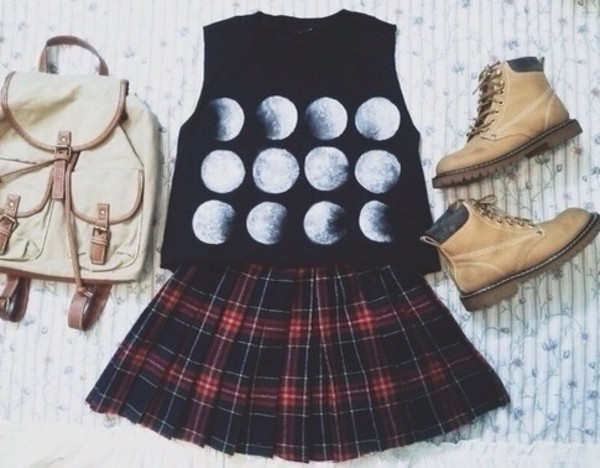 tank top moon moons phases black tartan skirt leather bag tank top summer t-shirt bag