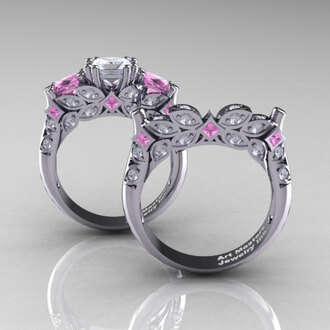 jewels light pink diamonds diamond ring gold ring set wedding engagement ring classic princess