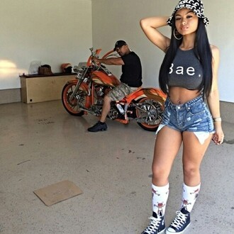 high socks babe high waisted shorts motorcycle bae cropped converse bucket hat india westbrooks the westbrooks shorts shorts high waisted buckethats hat india love indialove socks sneakers shoes fcc fcc bucket hat bae shirt summer outfits summer shorts weave camouflage orange