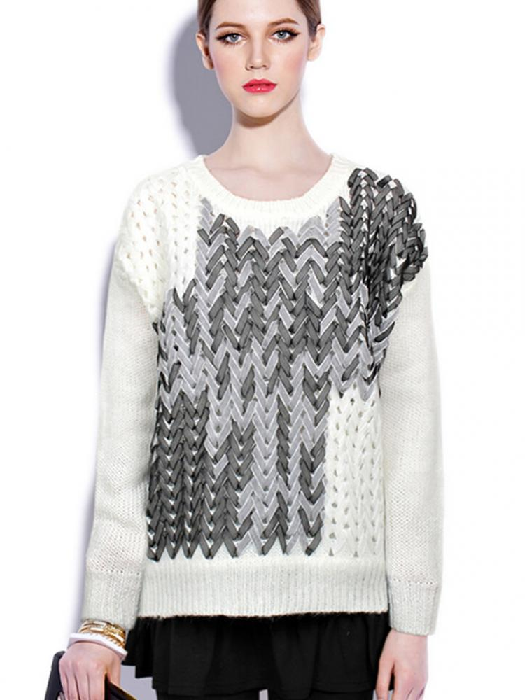 Ribbon Cable Knit Panelled Jumper In White | Choies