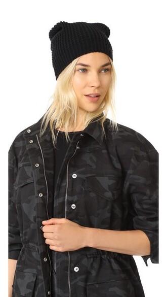 beanie knit black hat