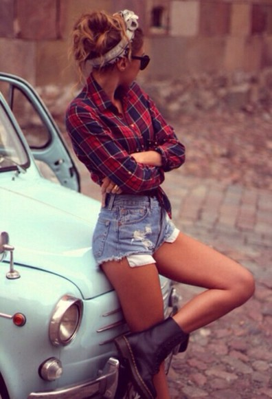 blue shorts shirt tartan red tartan check checked tucked into shorts cut offs head band summer look shoes blouse hat