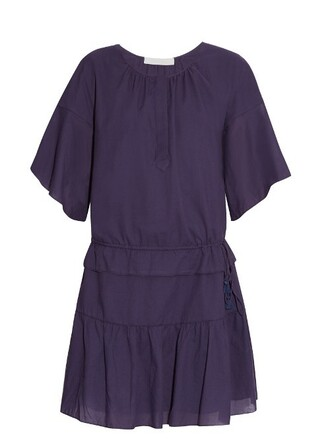 dress drawstring cotton navy