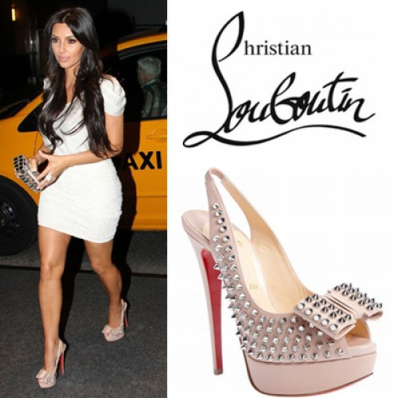 salma hayek shoes spiked slingbacks pink nude christian louboutin red sole shoes spikes slingbacks skirt