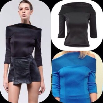 top zhivago sexy top classy top high fashion trends black top blue top long sleeves flattering neoprene mesh mesh top off shoulder blouse a sexy and stunning blouse